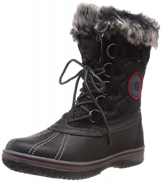 Dockers by Gerli Damen Schuhe Winter Stiefel 43TA301-626100 Black Boots Schnürer